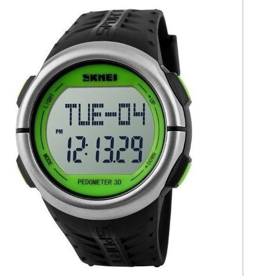 Relógio Pedômetro Unissex Skmei Digital 1058 Preto E Verde