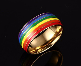 Gayfest Anel Aço Dourado Rainbow Tamanho 17 Lgbt