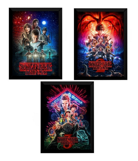Kit 3 Quadros Stranger Things Temporadas Cartazes Moldurados