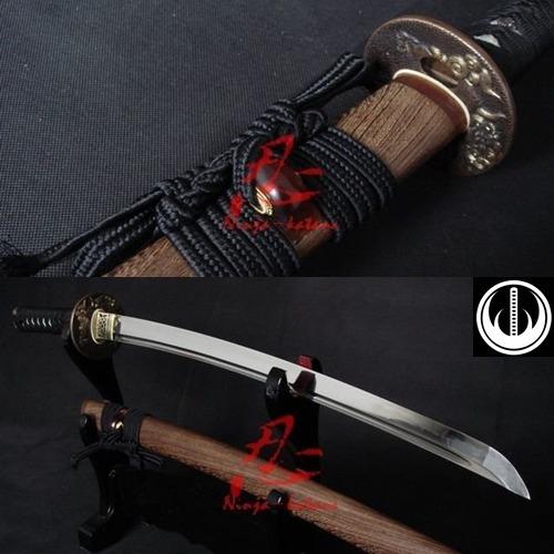 Imagem 1 de 10 de Espada Média Samurai Wakizashi Afiada Tradicional Com Corte