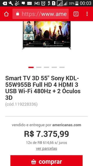 Smart Tv Sony Bravia 3d 55polegadas