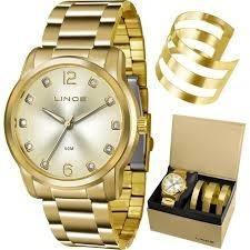 Relógio Lince Feminino Dourado Bracelete Lrg4391l-k191s2kx