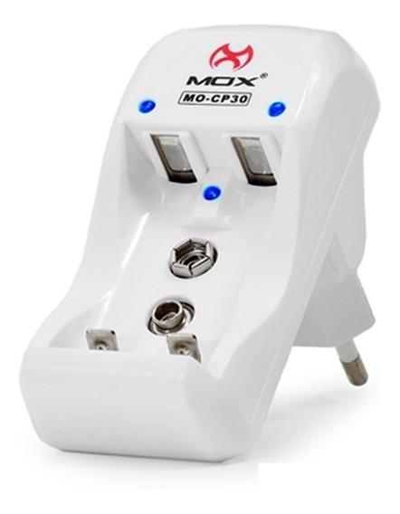 Carregador De Pilhas Aa Aaa Baterias 9v Mox Mo-cp30 Original