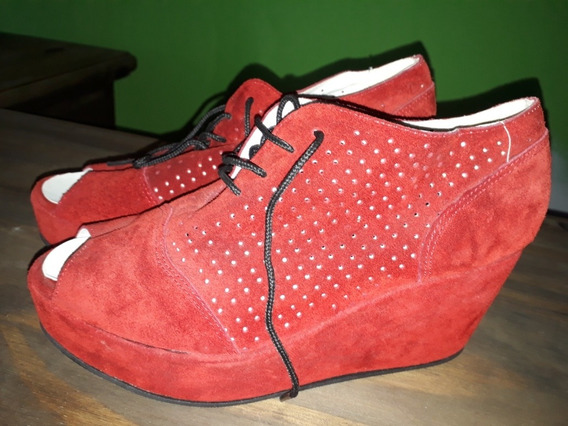 Zapatos Boca De Pez Gamuzado Color Rojo Marca Nivel Uno
