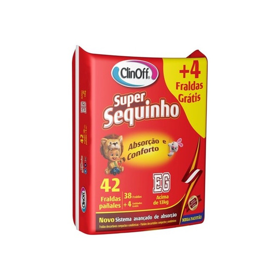 Fralda Infantil Clin Off C/42 Super Sequinho Mega Xg Pc