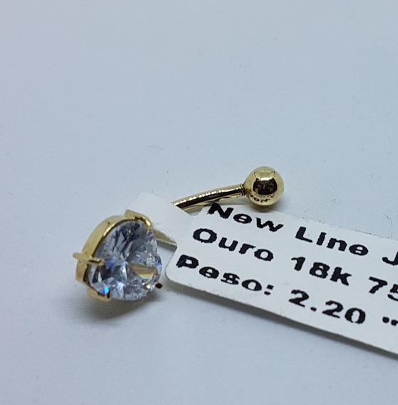 Piercing Em Ouro 18k 750 Pedra Coração De Umbigo 2,20g