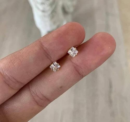 Topos/aretes Para Hombre En Oro 18k Cuadrados Piedra Cristal