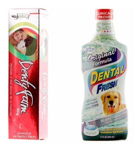 Crema Dental Perros Gatos 80gr+ Enjuague Bucal Dental Fresh