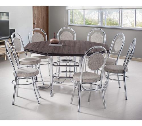 Conjunto De Mesa Com 8 Cadeiras Estofadas Mirela Gb