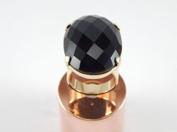 Anel Banhado A Ouro Aro 22 Pedra Cristal Negro Natural An002