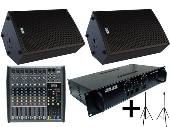 Kit Mark Audio By Attack Amplific + 2 Caixa Som + Mesa 8 Ch