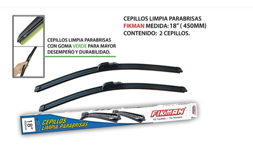 Cepillo Limpiaparabrisas 18 Pulgadas Fikman (2 Unidades)