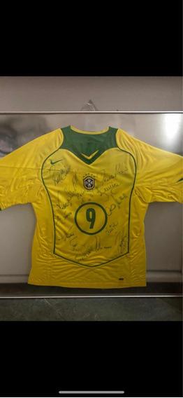 Camisa Seleçao Autografada 2002 Penta Copa Do Mundo Raro