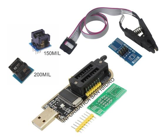 Programador Usb Ch341a + Pinza Soic-8 Bgm Taiwan + Zocalos Zif 150mil Y 200mil + Archivos