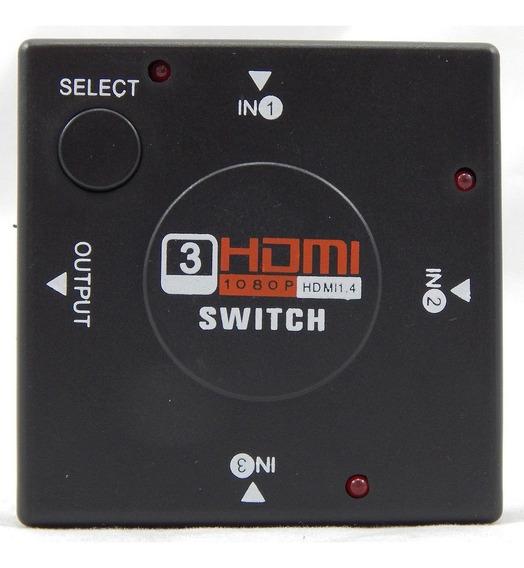 Chaveador Seletor Hub Switch Hdmi 3x1 Divisor 3d Barato