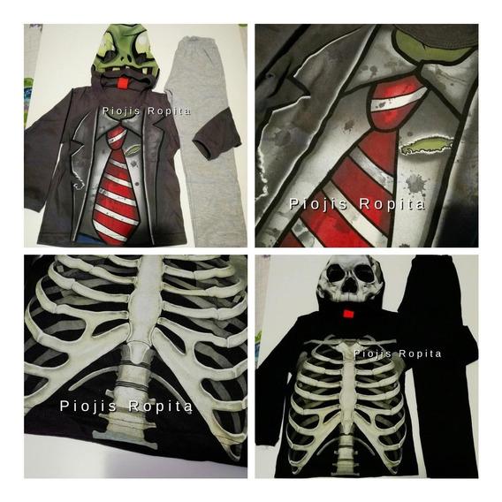 Conjunto Disfraz Niño Zombie O Esqueleto Con Mascara Premium
