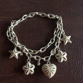 Linda E Delicada Pulseira De Prata Com Estrelas E Pedrinhas