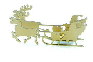 Trineo Santa Claus Con Renos 3d De 30cm En Mdf (pz)