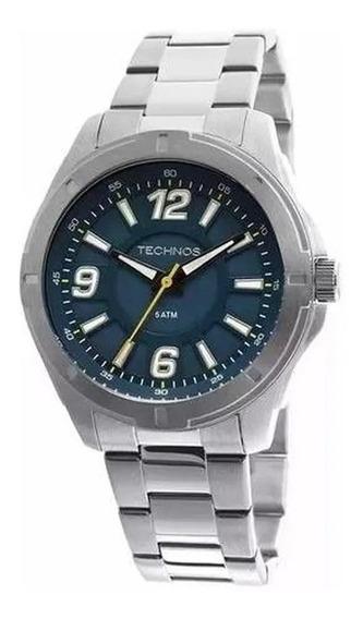 Relógio Technos 2036loh/1a Masculino Prateado / Azul