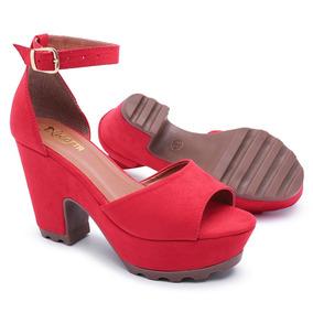 f6bcd36eec Sandalia Salto Grosso Vermelha Promocao - Sapatos com o Melhores ...