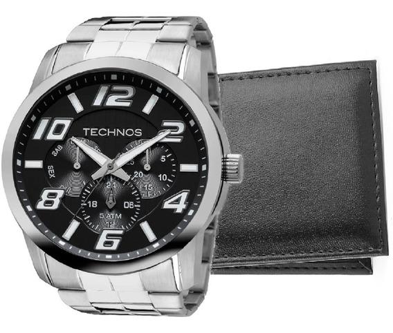 Relógio Technos Masculino Prateado Grande Com Carteira