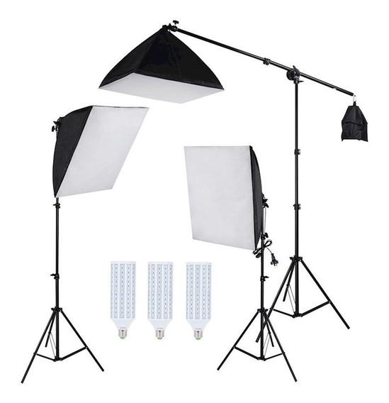 Kit Iluminação Estúdio Led 180w Softbox 50x70cm Com Girafa