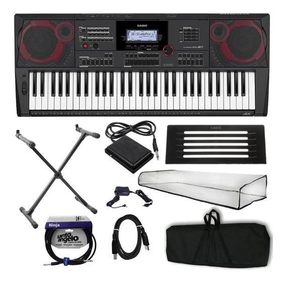 Kit Teclado Musical Profissional Arranjador Casio Ct-x5000