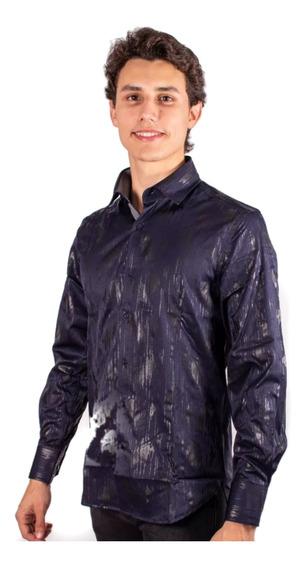 Camisa Para Caballero Marca Moderno Azules Importada 1