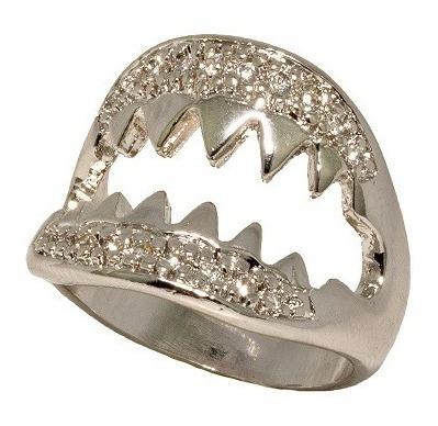 Anel Shark Ródio Branco Cravejado By Cris Arcangeli Aro 14