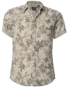 Camisa Tostado Con Estampado De Hojas_ Kenneth Cole