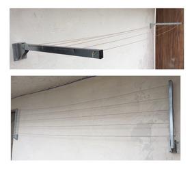 Varal Dobrável Articulado De Parede E Muro Kit Fio De Aço