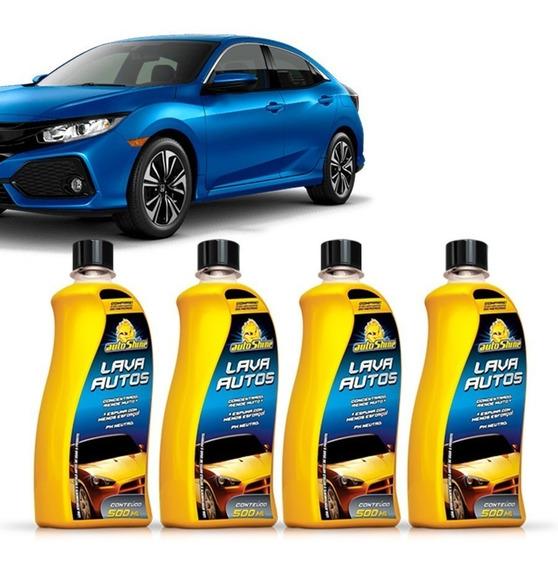 Kit 4 Shampoo Automotivo Lava Autos Alto Brilho Limpeza Auto