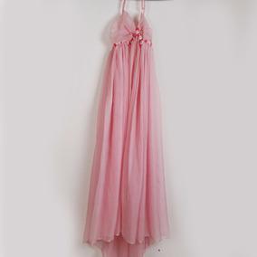Roupa P/ Estúdio Fotogr - Vestido Rosa Com Flores - Usado