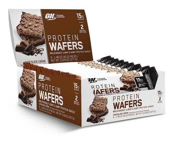 Wafers Proteína Optimum Nutrition Sabor Chocolate (9 Packs)