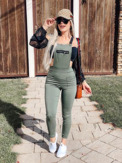 Jardineira Com Ziper Suspensório Macaquinho Feminino Moda