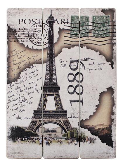 Cuadros Decorativos Madera Divididos Torre Eiffel 1889 30x40