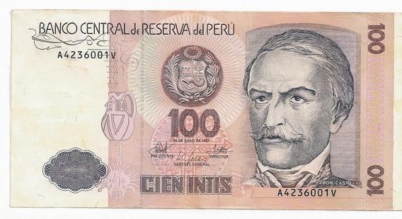 Perú - 100 Intis, 1987, Fe - Rara