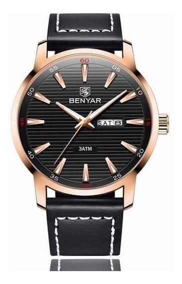 Relógio Benyar Luxo Pulseira De Couro Hardlex By-5145