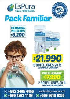 Agua Purificada / Dispensador + 2 Botellones 20 Lts