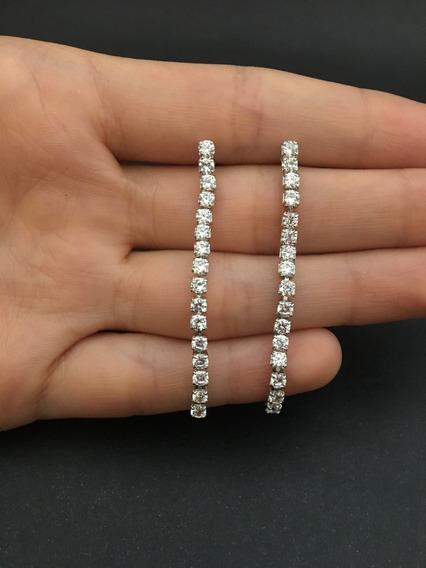 Brinco Comprido Em Zircônias Diamante - Semijoia