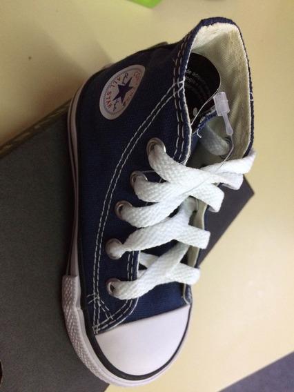 Tenis All Star Original Converse Cano Médio Azul Com Cadarço