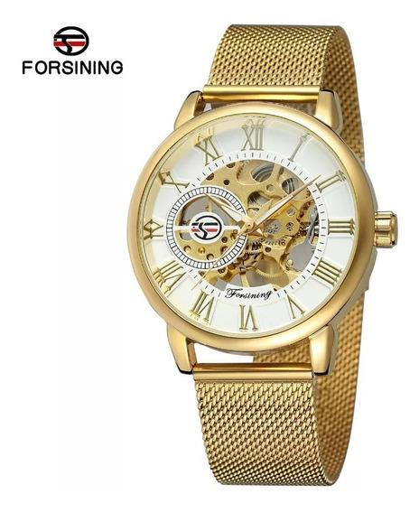 Relógio Masculino Mecânico Skeleton Forsining Dourado Preto