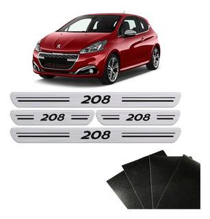 Kit Soleira Da Porta Peugeot 208 Protetora Prata Resinada