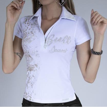 Polo Feminina Branca Com Ziper Original Pit Bull Ref. 29436