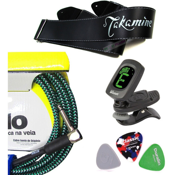 Kit Completo Afinador Clip+ Correia Takamine+ Cabo St Angelo