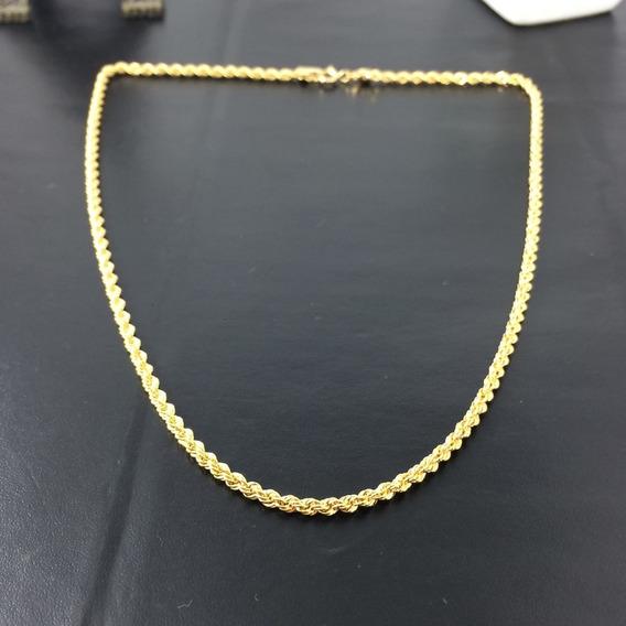 Corrente Baiano Masculina 60cm 0,5mm + Folheado Ouro 18k