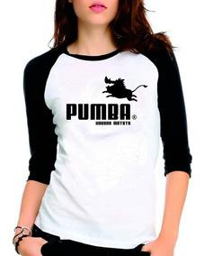 Camiseta Pumba Puma Rei Leão Raglan Babylook 3/4