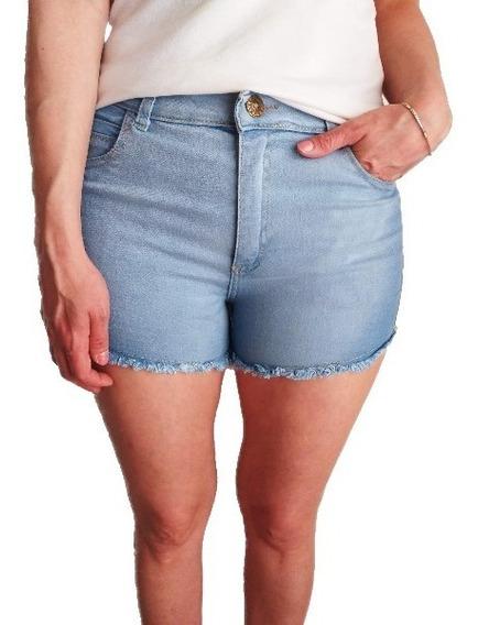 Short Jean Elastizado Tiro Alto Celeste Verano