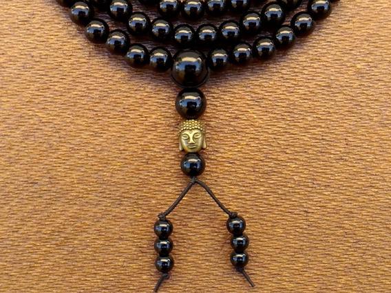 Japamala Negra Buda Ouro Velho Com 108 Pérolas Abs 8mm