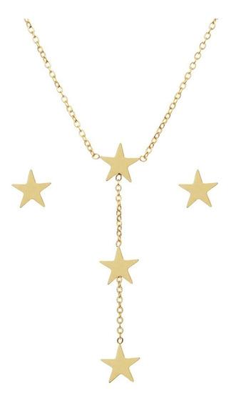 Conjunto Estrela Gargantilha E Brinco Em Aço Cirúrgico 316l Colar Modelo Gravatinha Com Pendulo E Brinco Estrela Cjç 2